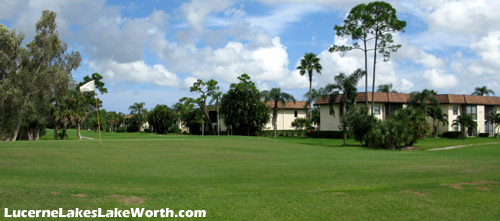 View of the golf course at Lucerne Lakes, and some condo residences beyond.